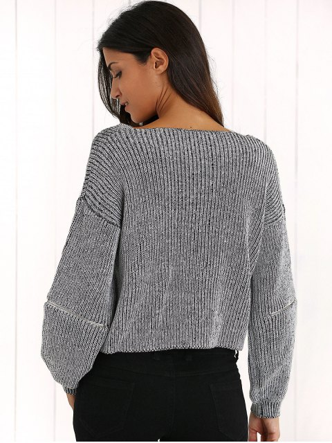 best V-Neck Zipper Sleeve Pullover Sweater - DEEP GRAY ONE SIZE Mobile