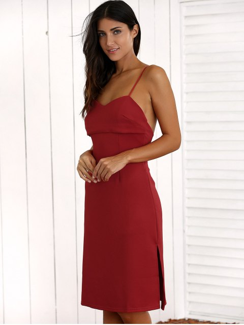 outfits Overlayed Strappy Midi Dress - RED L Mobile
