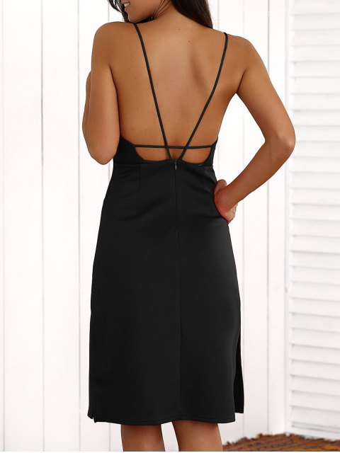 chic Overlayed Strappy Midi Dress - BLACK M Mobile