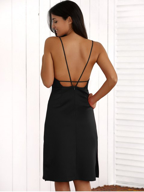 chic Overlayed Strappy Midi Dress - BLACK M Mobile