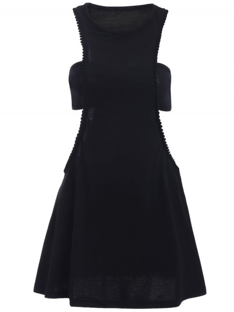 women's Black Cut Out Semi Formal Mini Dress - BLACK M Mobile