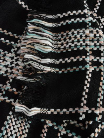 Plaid Braid Fringed Shawl Scarf - BLACK  Mobile