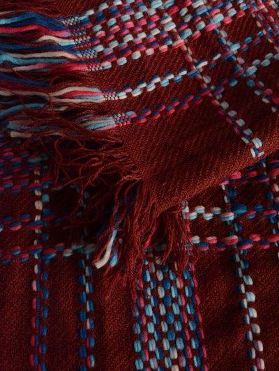 Plaid Braid Fringed Shawl Scarf - WINE RED  Mobile