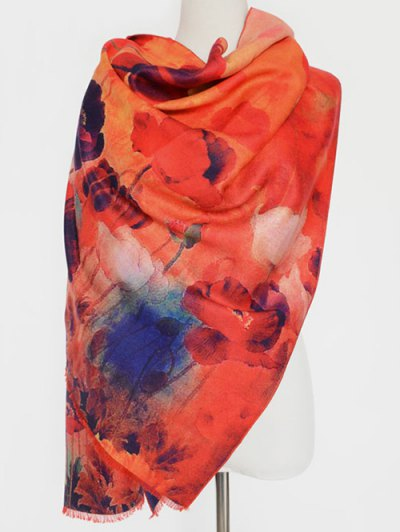 Flower Painting Fringed Scarf - ORANGE RED  Mobile