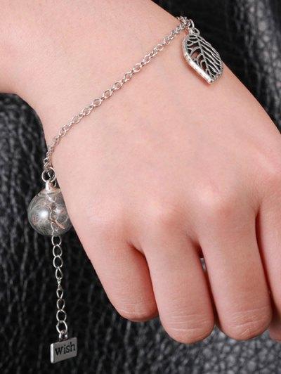 Leaf Glass Dry Dandelion Wish Bracelet - SILVER  Mobile