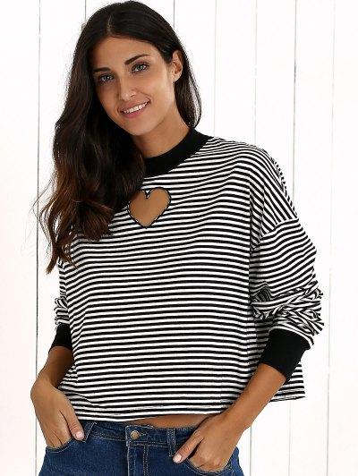 Stripe Long Sleeve Cutout Sweatshirt - WHITE AND BLACK M Mobile