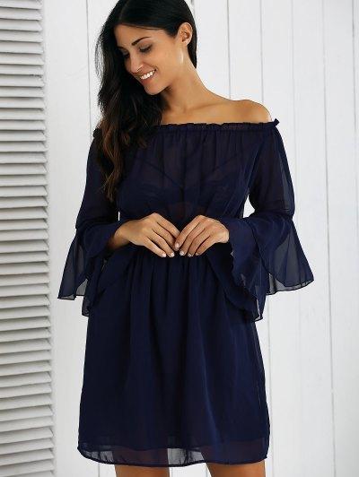 Off Shoulder Bell Sleeve Chiffon Dress - DEEP BLUE XL Mobile