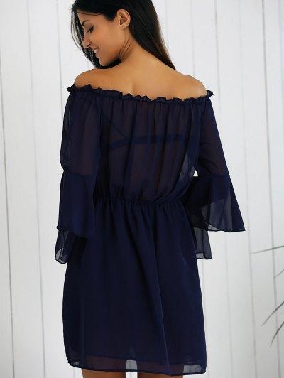 Off Shoulder Bell Sleeve Chiffon Dress - DEEP BLUE S Mobile