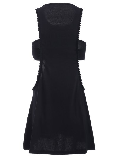 Black Cut Out Sleeveless Mini Dress - BLACK M Mobile