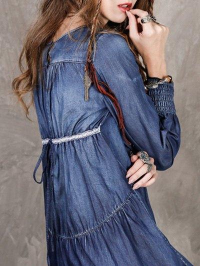 Long Sleeve Vintage Denim Dress - BLUE L Mobile