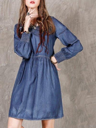 Long Sleeve Vintage Denim Dress - BLUE M Mobile