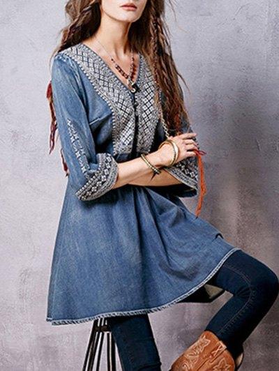 Denim Flared Bib Dress - BLUE M Mobile