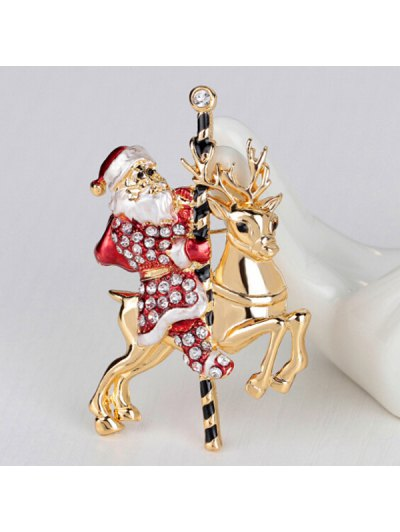 Christmas Reindeer Rhinestone Santa Brooch - RED  Mobile