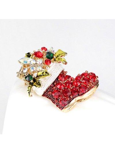 Christmas Rhinestone Shoe Brooch - RED  Mobile