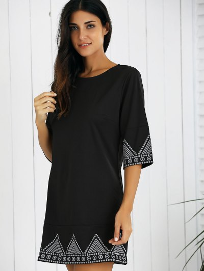 Print Round Neck Mini Dress - BLACK S Mobile