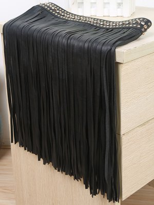 Rivet Long Tassel Skirt PU Belt - Black
