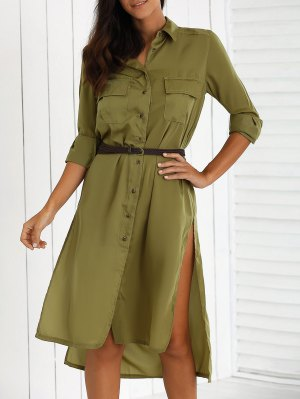 Split High Low Military Shirt Dress With Pocket - Green