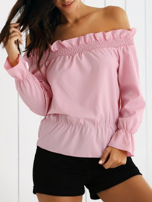Flounce Off The Shoulder Top - Pink