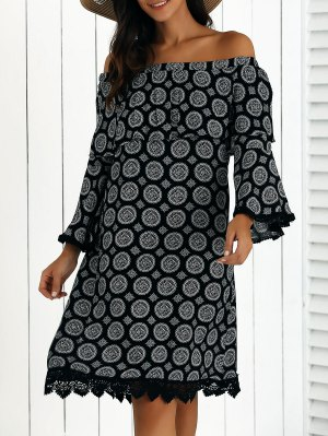 Printed Off The Shoulder Shift Dress - Black