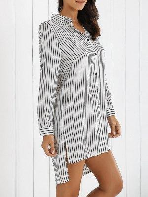 Boyfriend Striped Shirt Dress - White