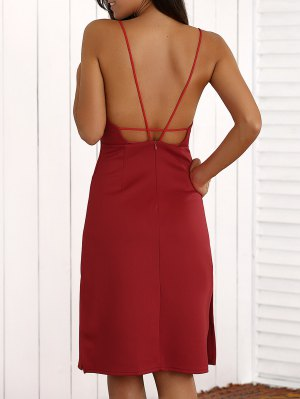 Overlayed Strappy Midi Dress - Red