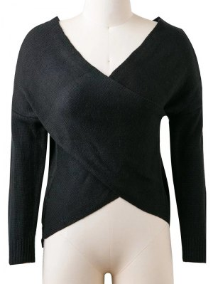 Convertible V Neck Sweater - Black