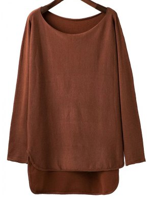 High Low Scoop Neck Knitwear - Brown
