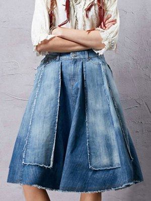 Patchwork Midi Denim Skirt - Blue