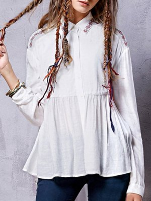 Linen Blend Embroidered Shirt - White