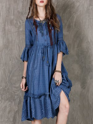Frilly Embroidered Midi Dress - Blue