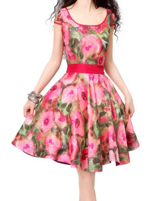 Fit And Flare Vintage Dress - Floral