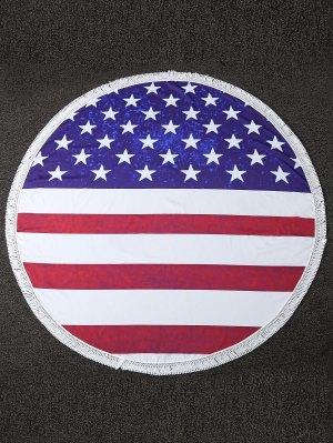 Fringe Flag Print Cover Up - Red