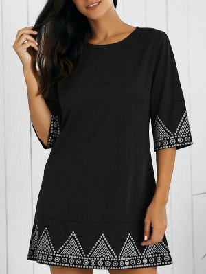 Print Round Neck Mini Dress - Black