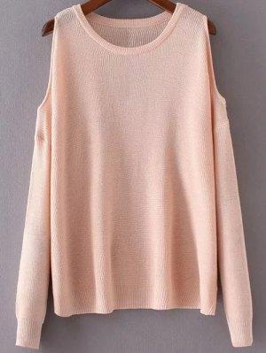 Loose Cold Shoulder Knitwear - Pink