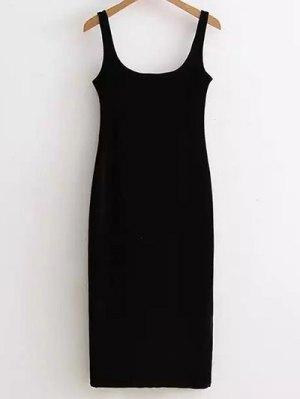 Back Slit Velvet Tank Dress - Black