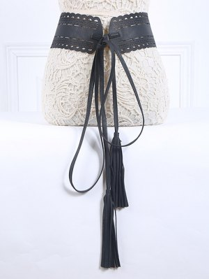 Long Tassel Pendant Lace-Up PU Belt - Black