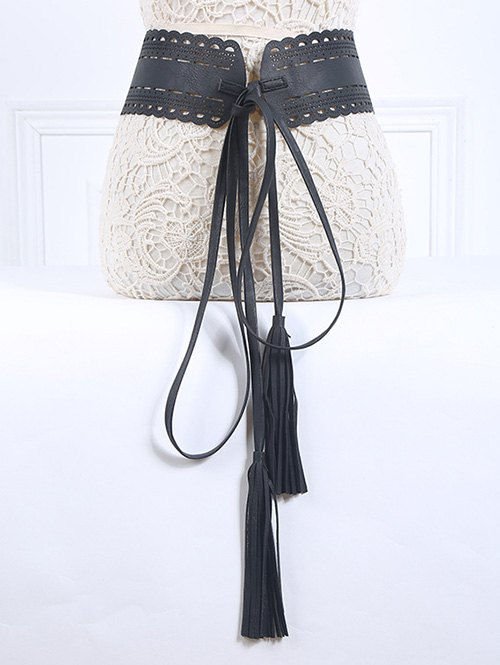 Tassel Pendant Lace-Up PU Belt