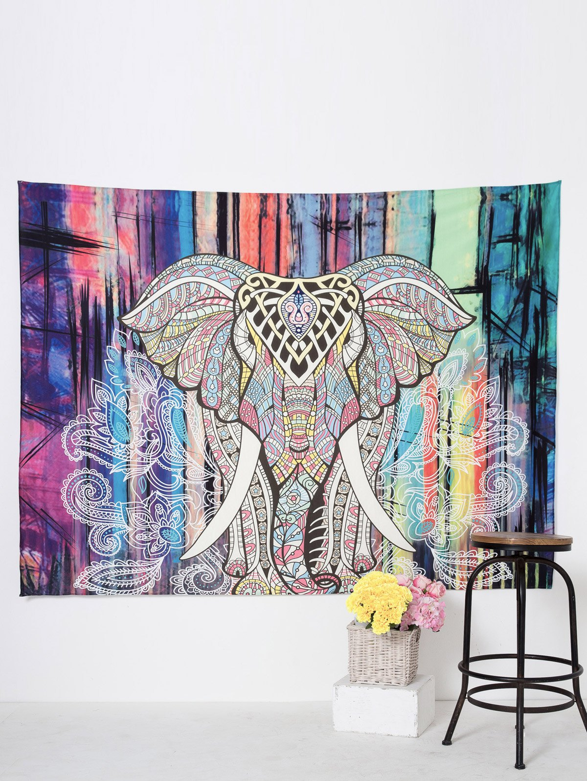 Rectangle Elepant Print Wall Art Beach Throw