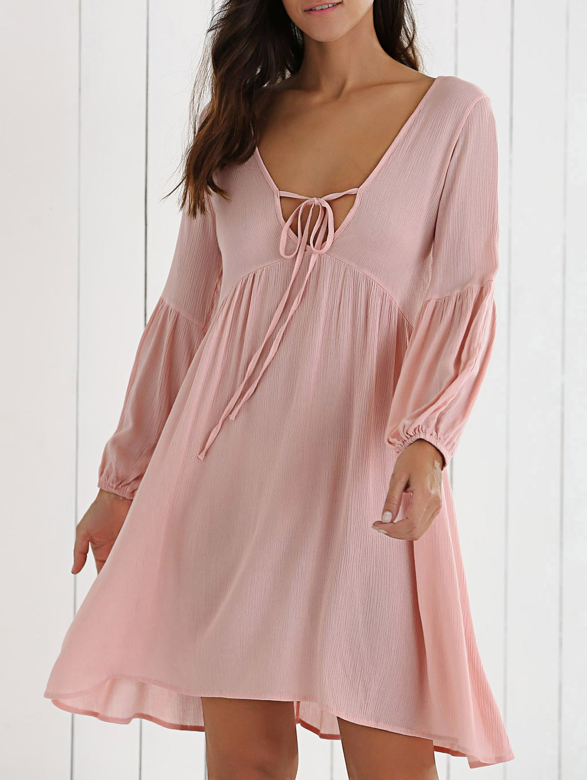 Plunging Neck Lantern Sleeve Solid Color Dress