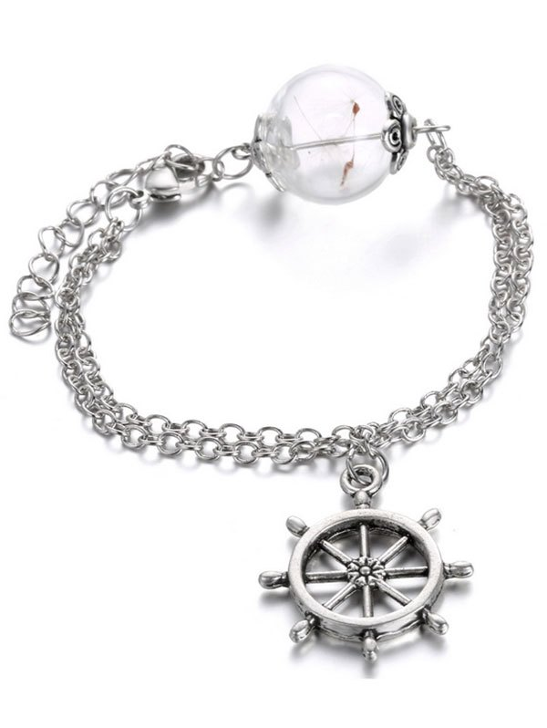 Glass Dry Dandelion Rudder Chains Bracelet
