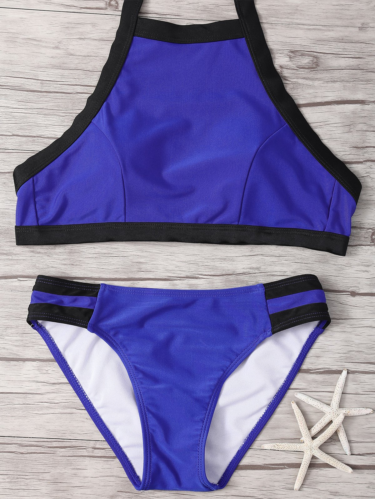 Halter Hit Color Bikini Set