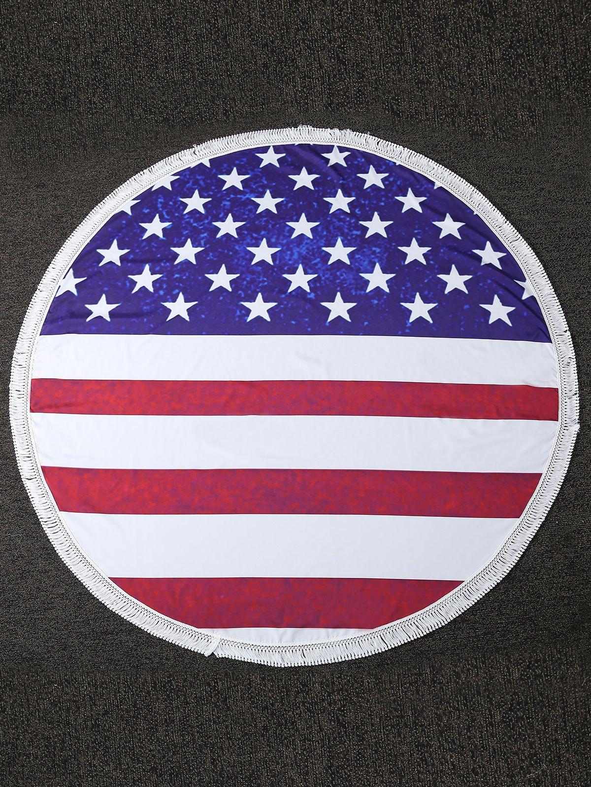 Flag Print Fringe Cover Up