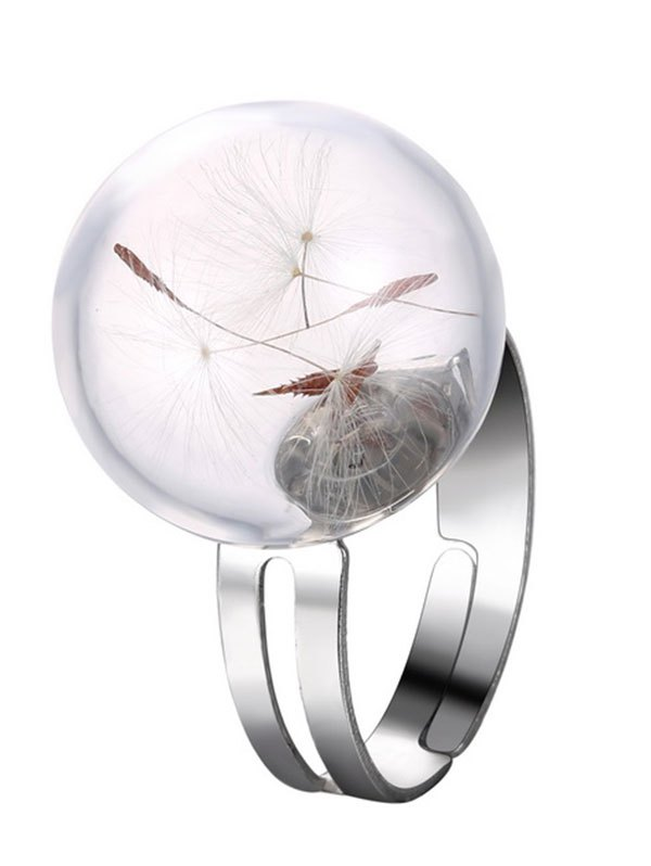 Glass Dry Dandelion Alloy Ring
