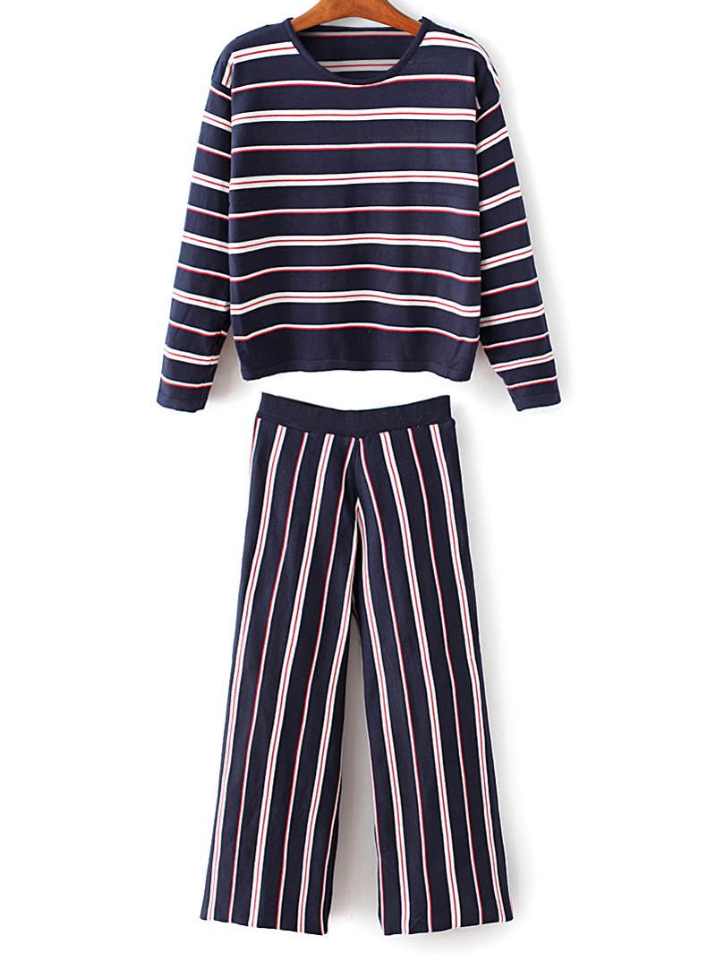 Round Neck Striped Knitwear With Pants