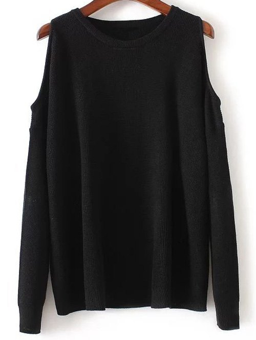 Long Sleeve Round Neck Loose Cold Shoulder Knitwear