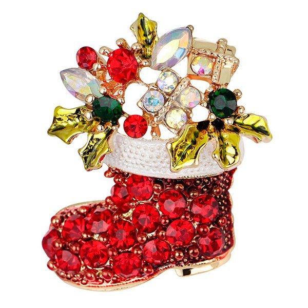 Christmas Rhinestone Shoe BroochAccessories<br><br><br>Color: RED