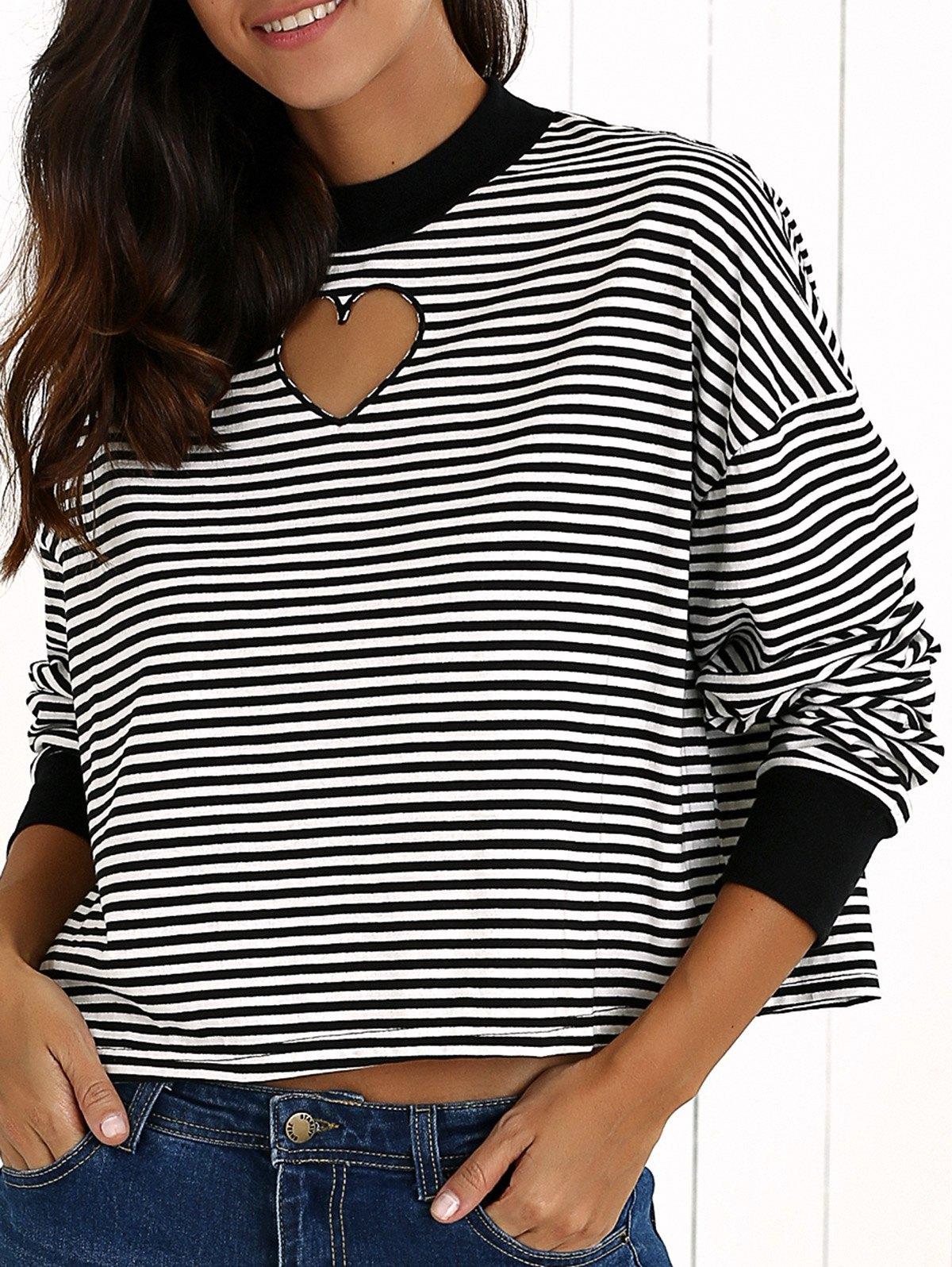Striped Cut Out Sweatshirt