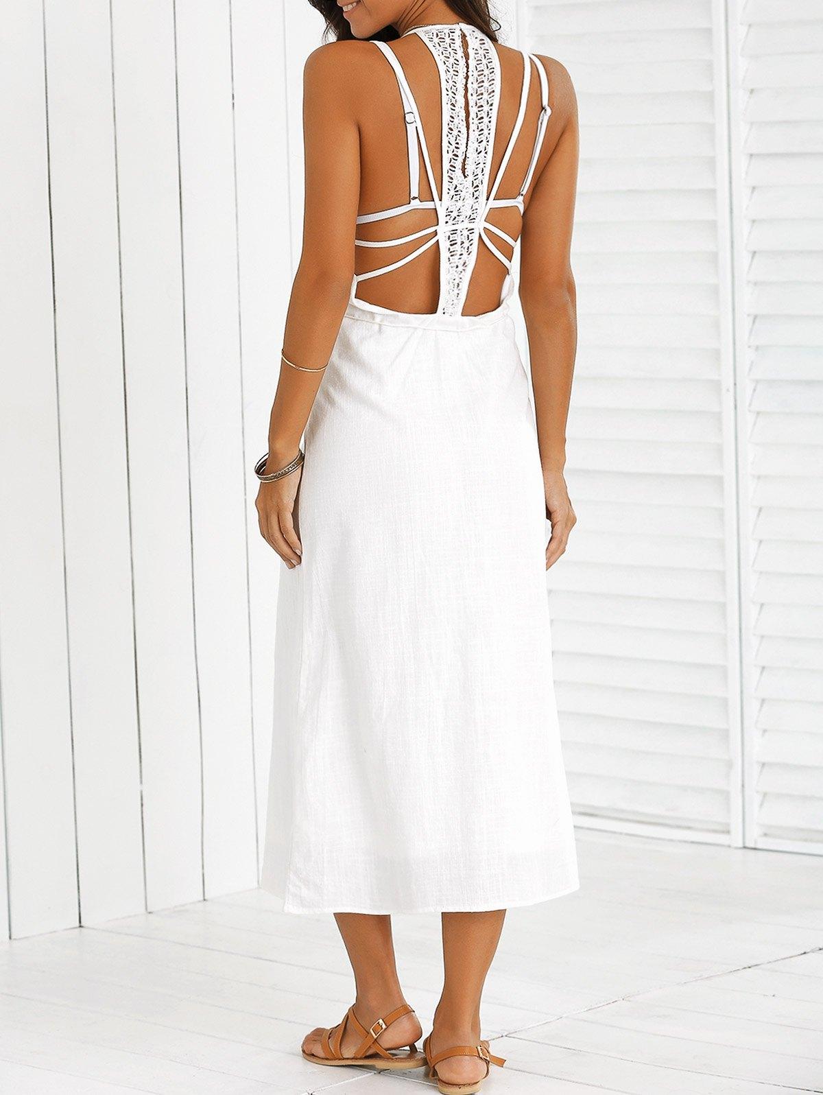 Open Back Plunging Neck Beach Dress