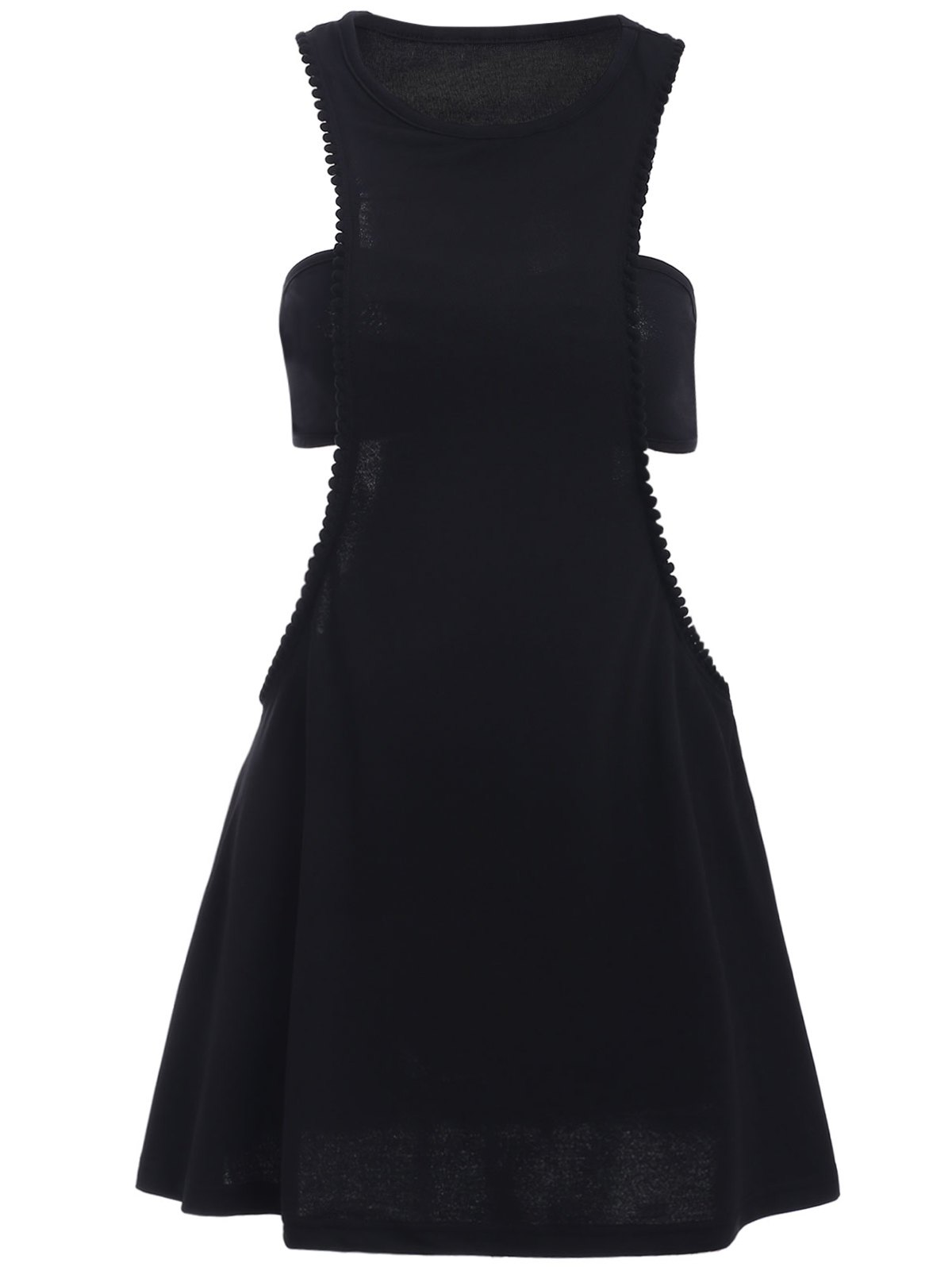 Round Neck Sleeveless Black Cut Out Mini Dress