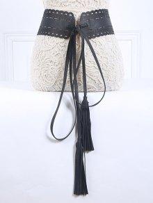Long Tassel Pendant Lace-Up PU Belt